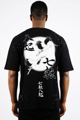 XHAN - Siyah Chinese Baskılı Oversize T-Shirt 1YXE1-44915-02