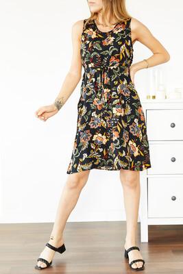 XHAN - Siyah Çiçek Desenli Kolsuz Elbise 0YXK6-43855-02