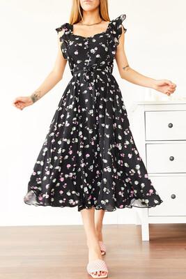 XHAN - Siyah Çiçek Desenli Midi Elbise 0YXK6-43963-02
