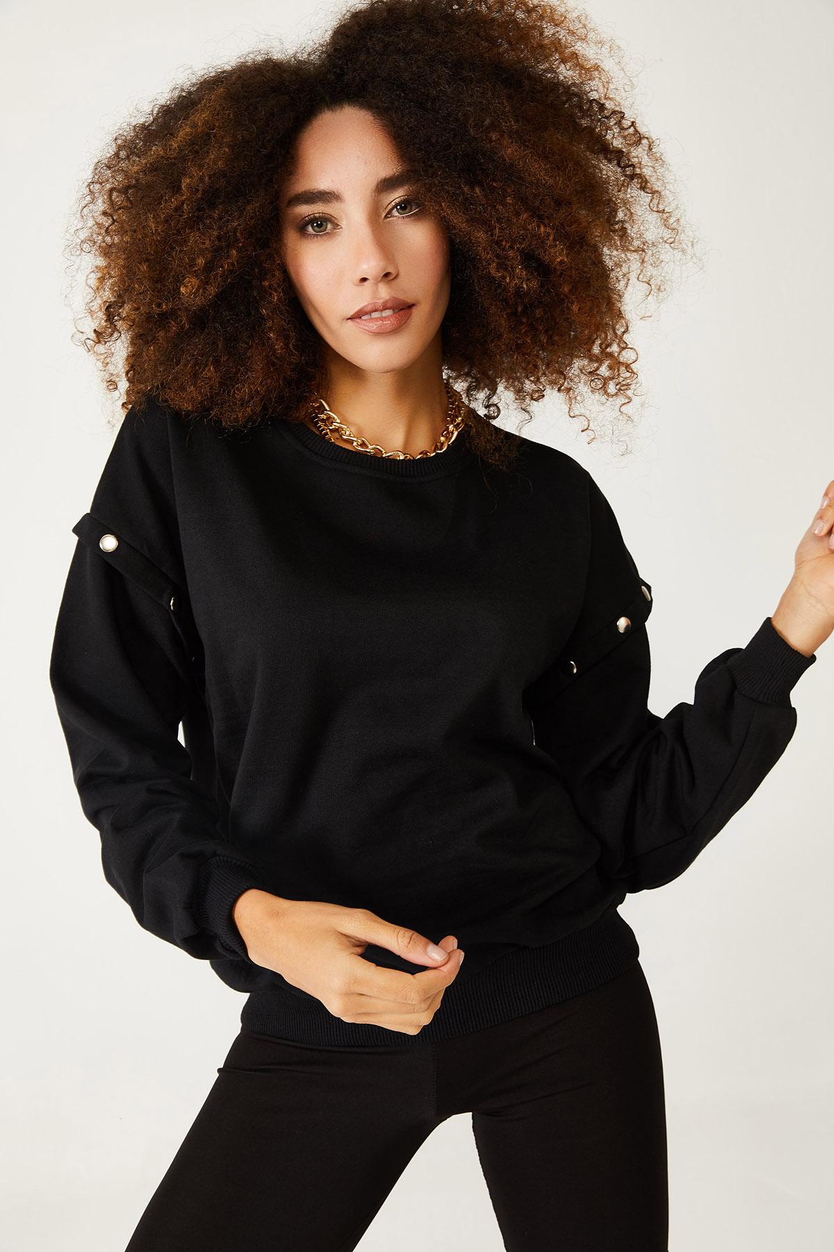XHAN - Siyah Çıtçıt Detaylı Sweatshirt 1KXK8-44428-02