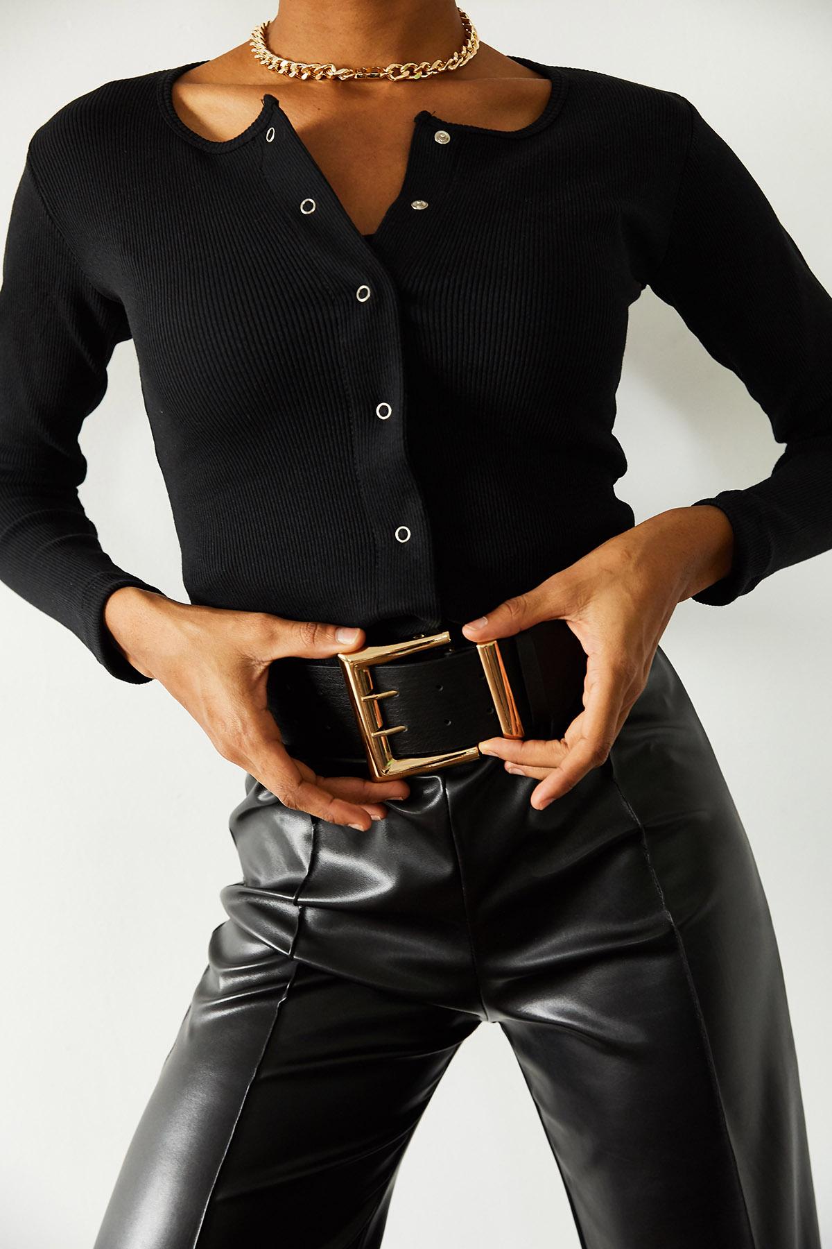 XHAN - Siyah Çıtçıtlı Bluz 1KXK3-44694-02