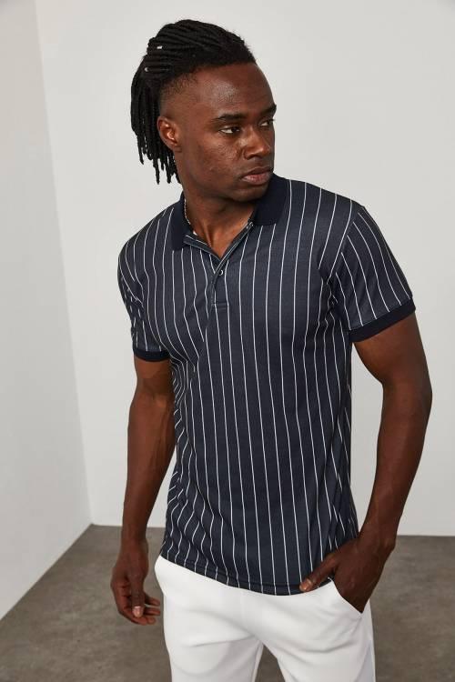 XHAN - Siyah Çizgili Polo Yaka T-Shirt 1YXE1-45096-02