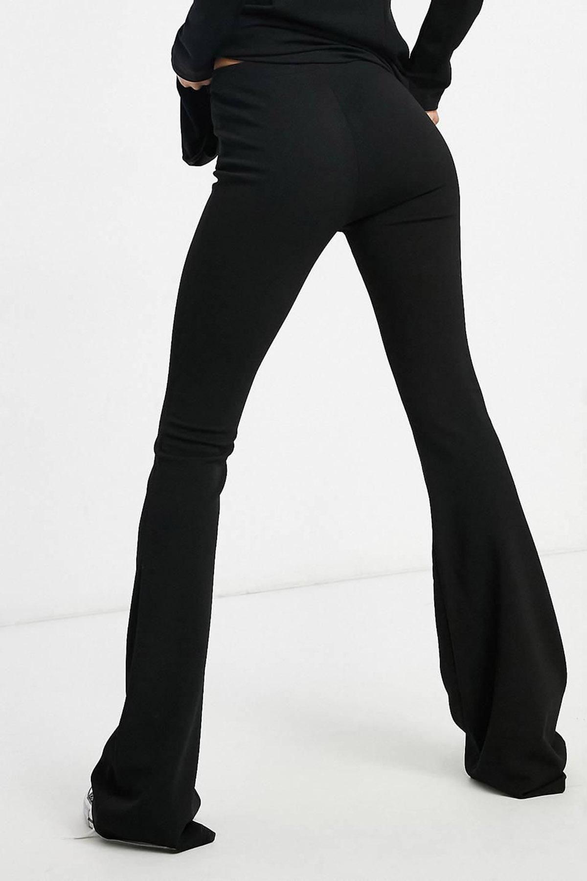 Siyah Dalgıç Kumaş İspanyol Paça Tayt 2KXK5-45459-02