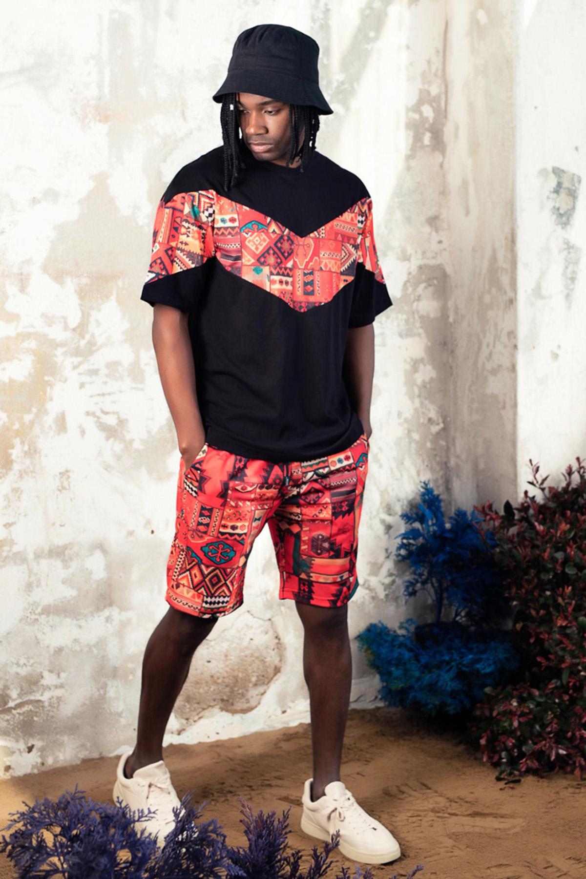XHAN - Siyah Desenli Şortlu Takım 1KXE8-44756-02