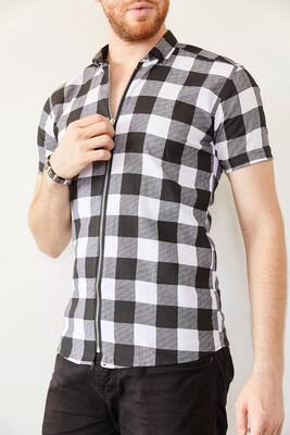XHAN - Siyah Ekoseli Fermuarlı Slim Fit Gömlek 0YXE2-44025-02