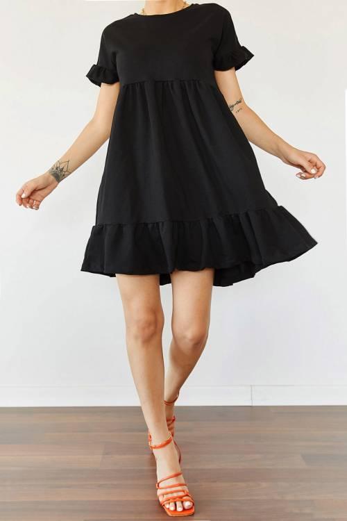 XHAN - Siyah Etek & Kol Ucu Fırfırlı Elbise 0YZK6-10288-02