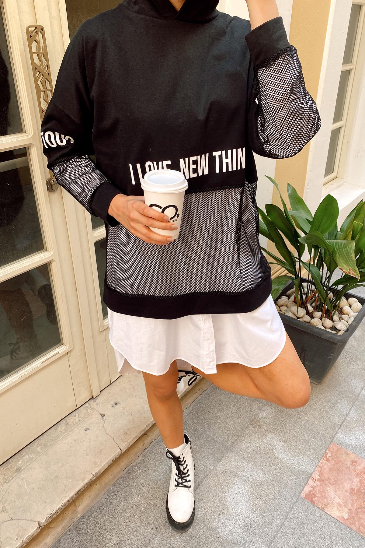 XHAN - Siyah File Detaylı Baskılı Tunik Boy Sweatshirt 1KXK8-44203-02