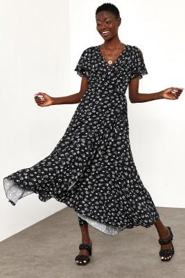 XHAN - Siyah Fırfırlı Viskon Elbise 1YXK6-45005-02