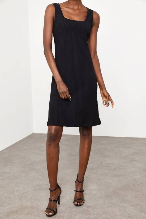 XHAN - Siyah Fitilli Elbise 1KZK6-11610-02