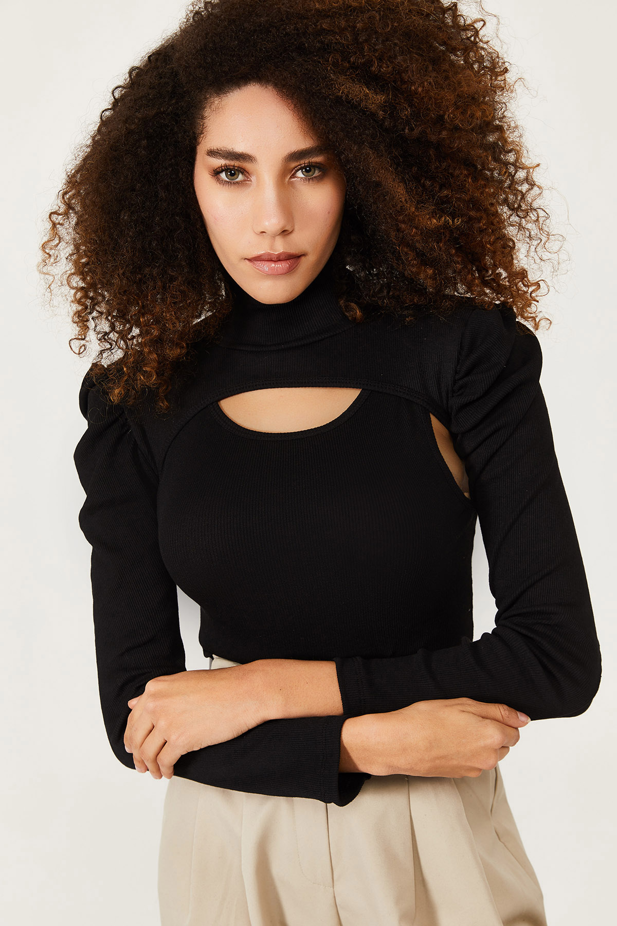 XHAN - Siyah İki Parçalı Prenses Kol Bluz 1KXK2-44552-02