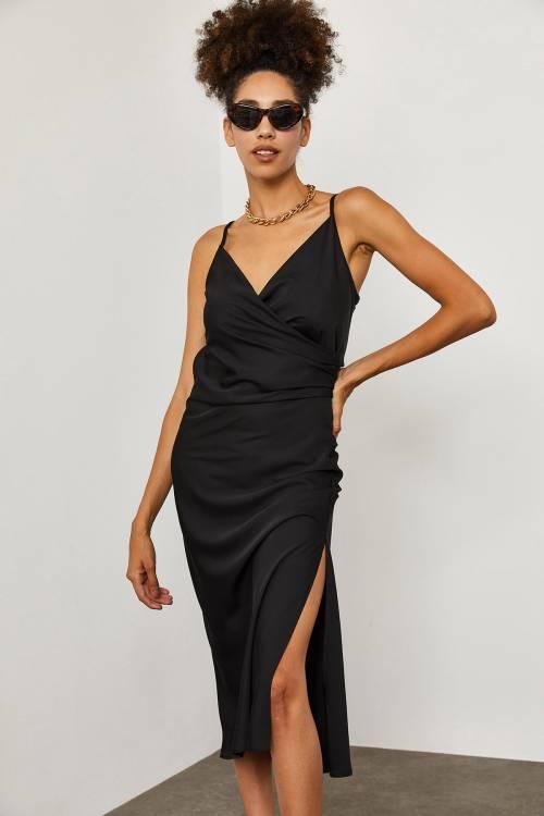 XHAN - Siyah İp Askılı Saten Elbise 1YXK2-45280-02