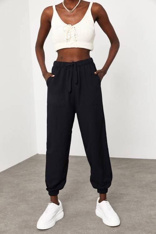XHAN - Siyah Jogger Keten Pantolon 1KXK5-44834-02