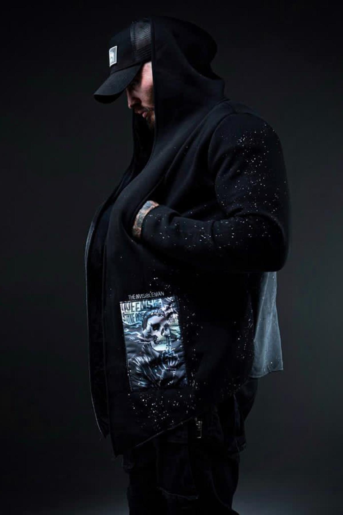 XHAN - Siyah Kamuflaj Baskılı Sweatshirt 1KXE8-44333-02