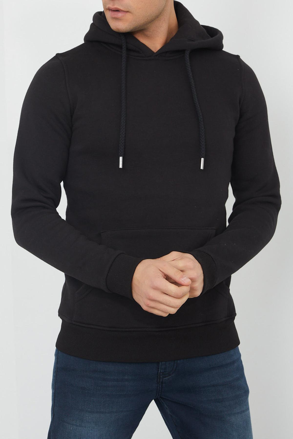 XHAN - Siyah Kanguru Cep Kapüşonlu Sweatshirt 1KXE8-44359-02