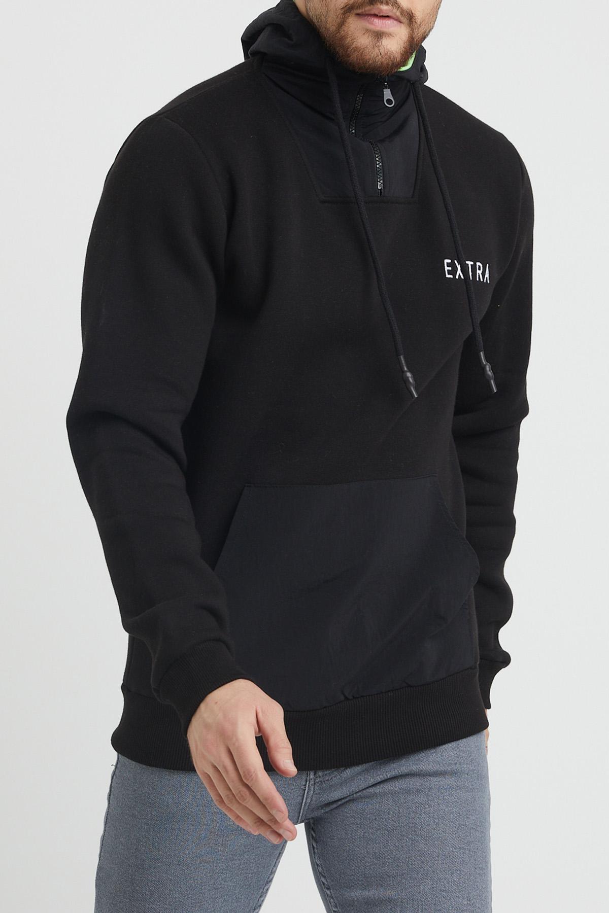XHAN - Siyah Kanguru Cepli Baskılı Sweatshirt 1KXE8-44344-02