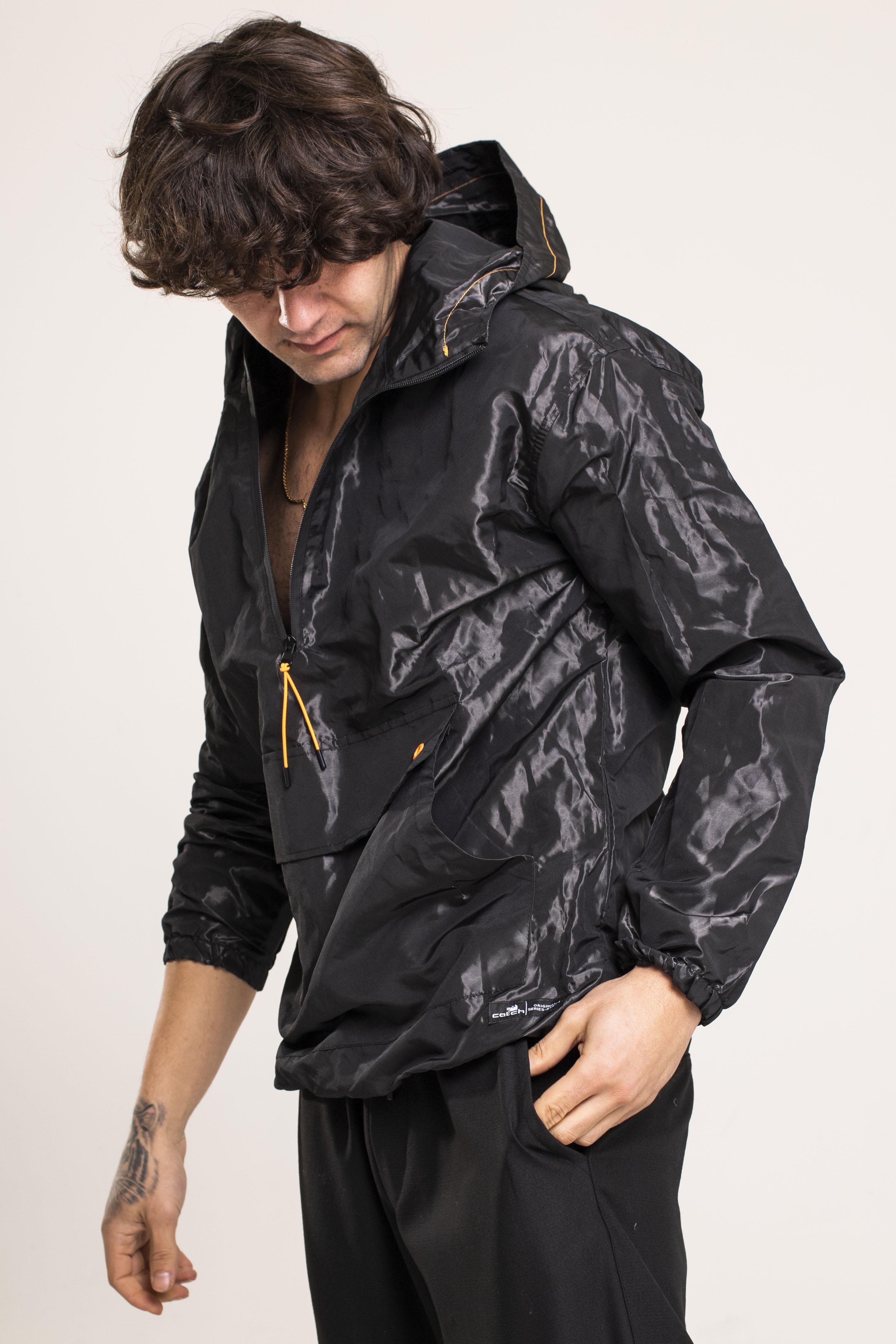 XHAN - Siyah Kanguru Cepli Yağmurluk 1KXE4-44522-02