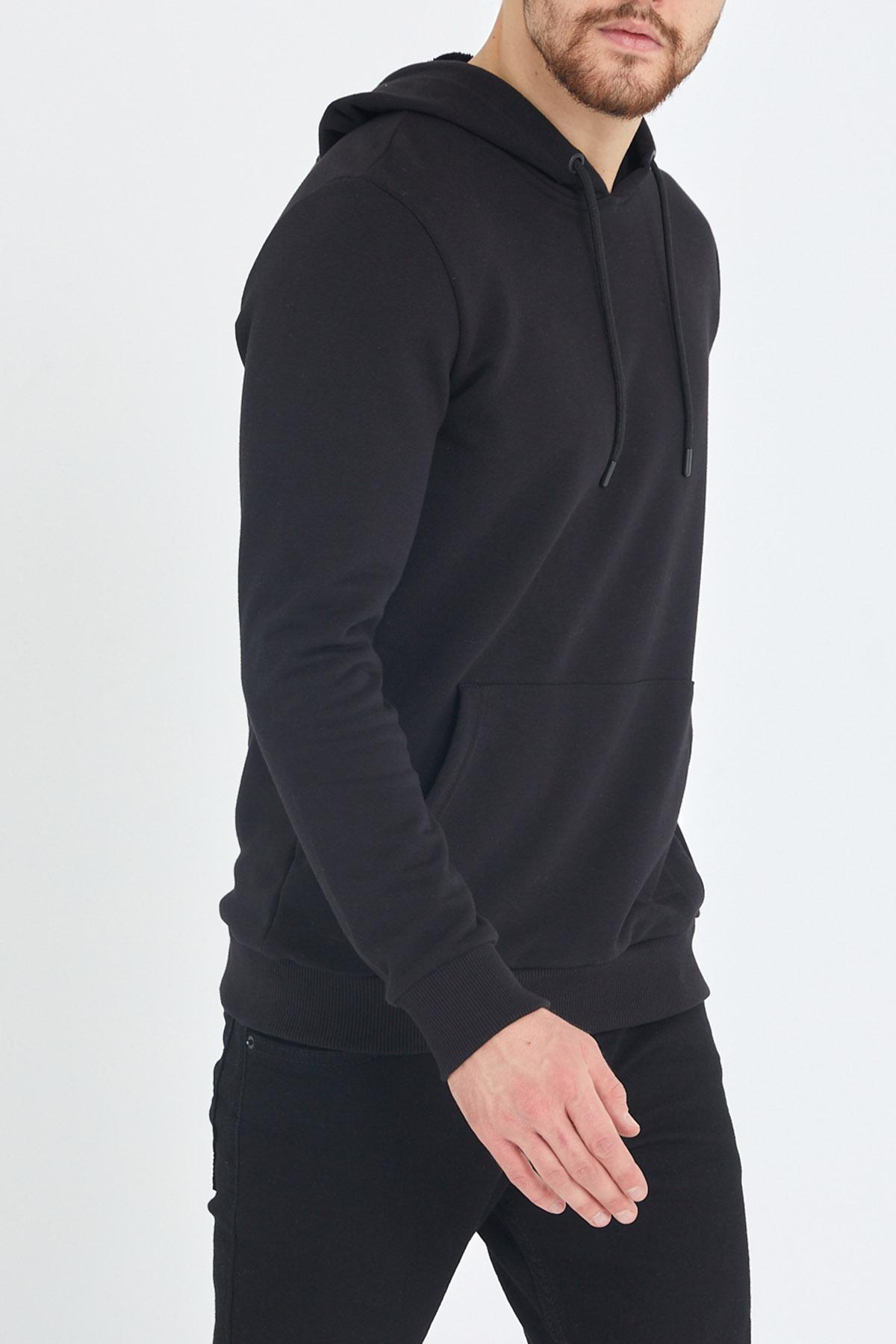 XHAN - Siyah Kapüşonlu Kanguru Cepli Yumuşak Dokulu Sweatshirt 1KXE8-44483-02