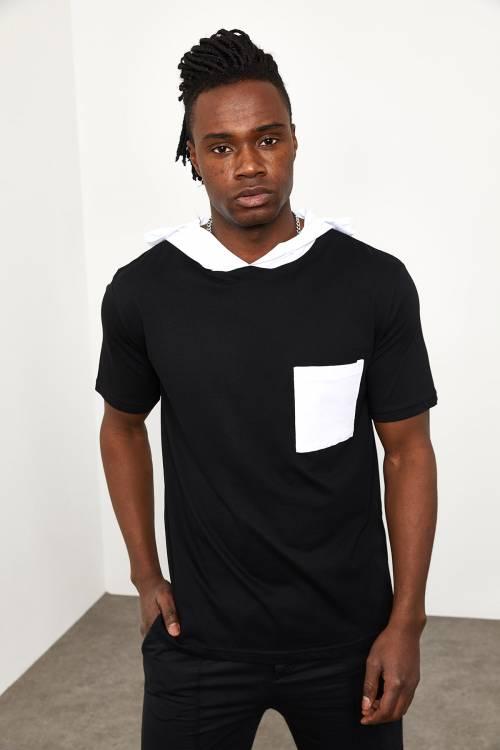 XHAN - Siyah Kapüşonlu Önü Cepli T-shirt 1YXE8-44965-02