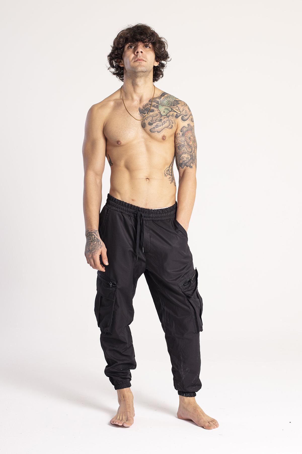 XHAN - Siyah Kargo Cep Jogger Pantolon 1KXE5-44673-02