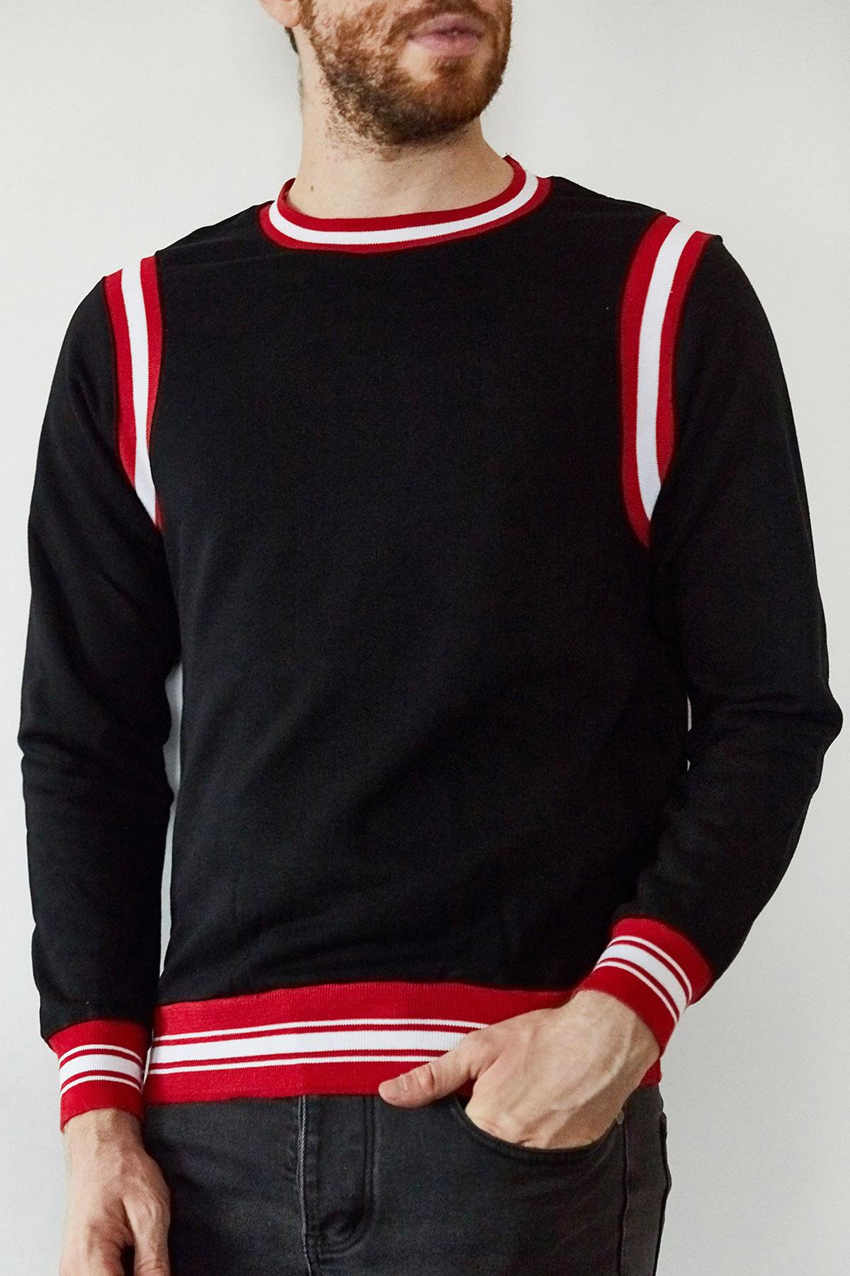 XHAN - Siyah & Kırmızı Şeritli Bisiklet Yaka Sweatshirt 1KXE8-44164-02