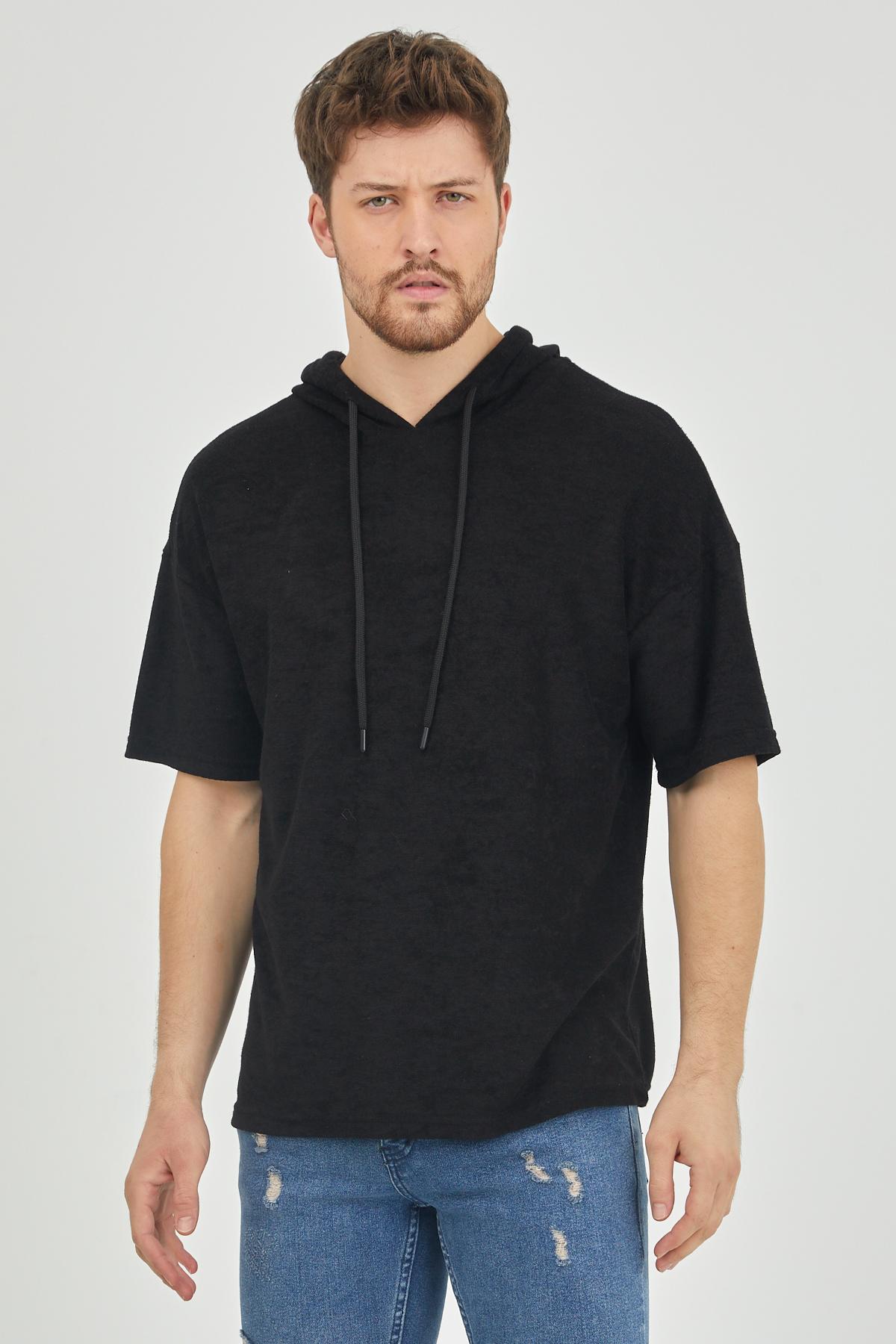 XHAN - Siyah Kısa Kol Baharlık Kapüşonlu Sweatshirt 1KXE8-44653-02