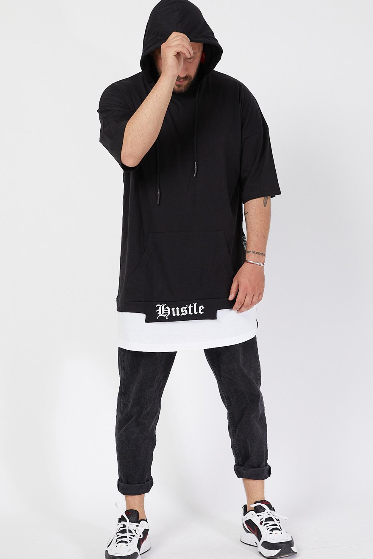 XHAN - Siyah Kısa Kol Sweatsihrt 1KXE8-44678-02