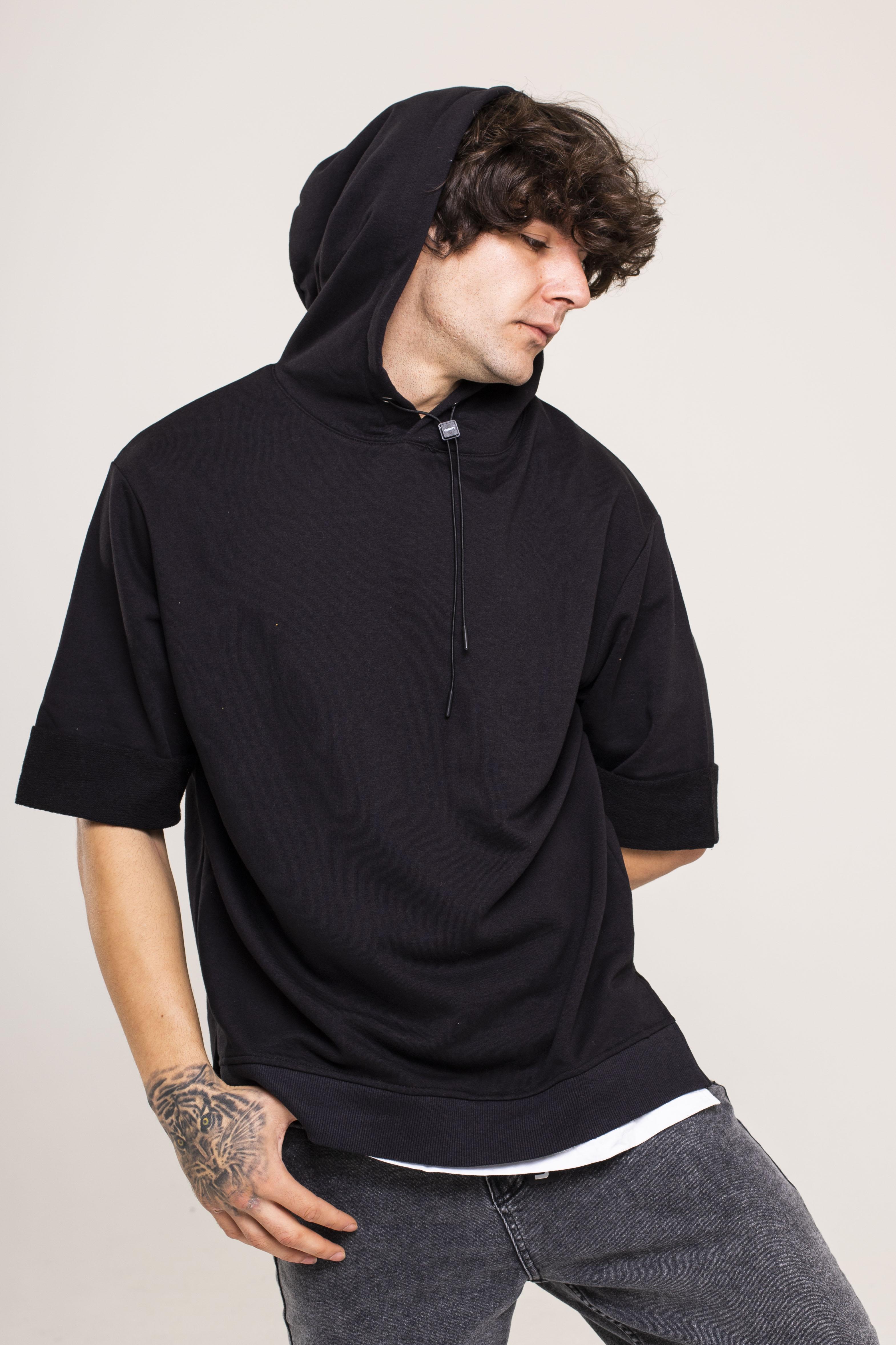 XHAN - Siyah Kısa Kollu Sweatshirt 1KXE8-44510-02