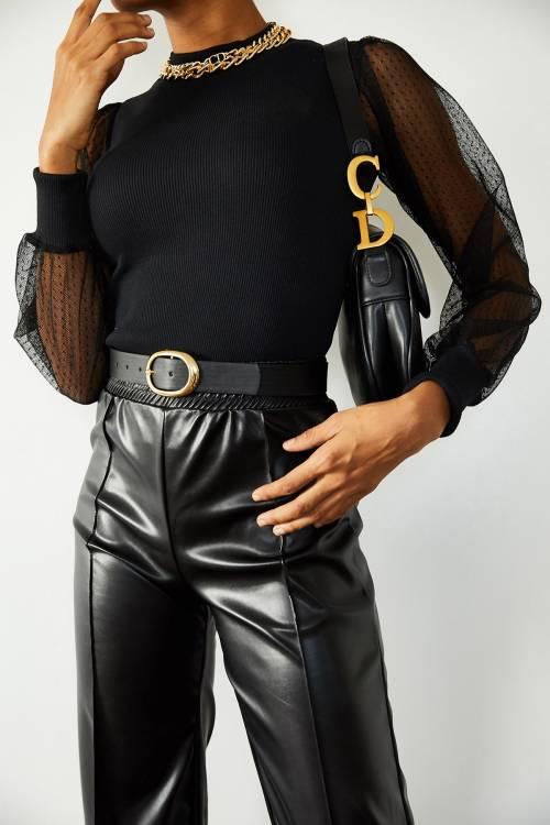XHAN - Siyah Kolları Tüllü Bluz 1YXK1-44927-02