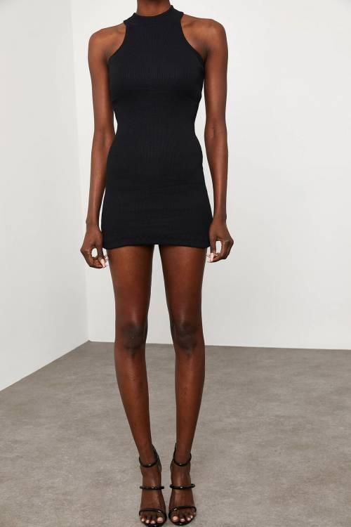XHAN - Siyah Kolsuz Kaşkorse Elbise 1KZK6-11609-02
