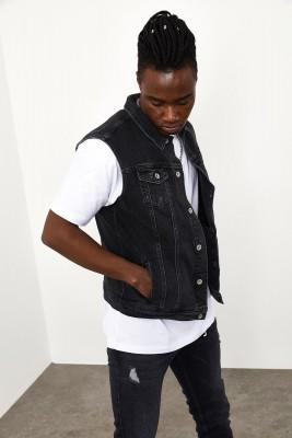 Siyah Kot Yelek 1YXE4-44962-02 - Thumbnail