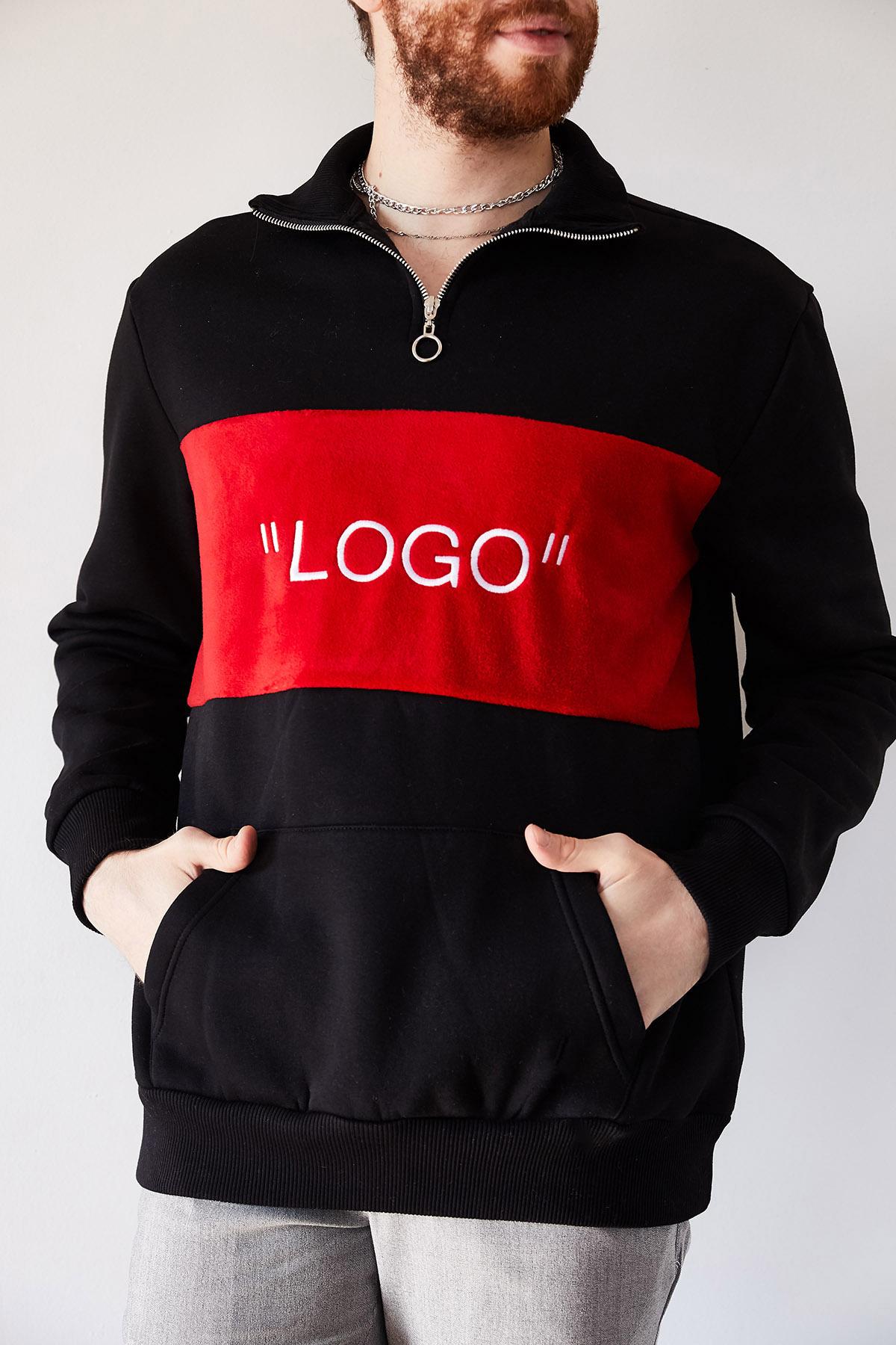 XHAN - Siyah Nakışlı Üç İplik Sweatshirt 1KXE8-44231-02
