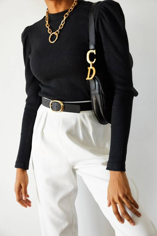 XHAN - Siyah Omuzları Büzgülü Bluz 1YXK1-44925-02