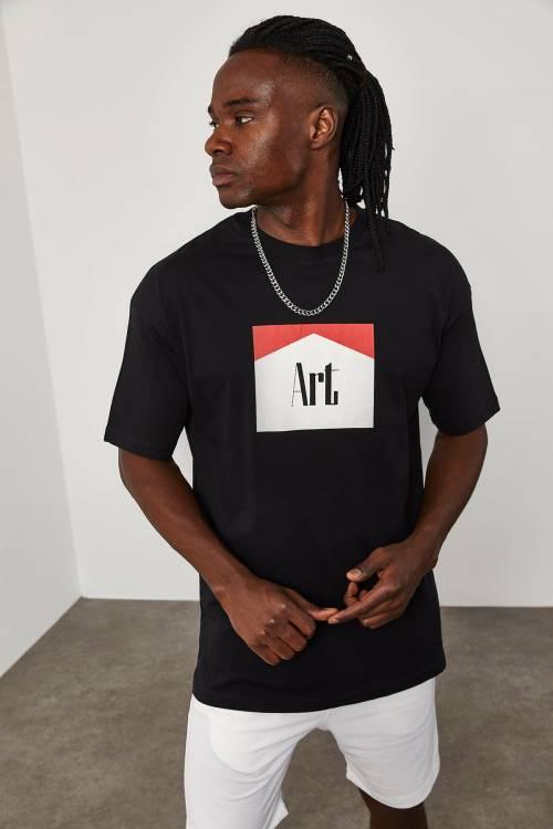 XHAN - Siyah Önü Baskılı T-Shirt 1YXE1-45092-02