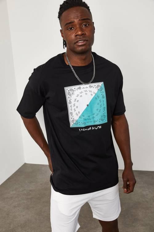 XHAN - Siyah Önü Baskılı T-Shirt 1YXE1-45093-02
