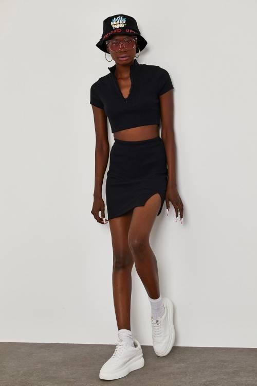 XHAN - Siyah Önü Fermuarlı Kaşkorse Crop Takım 1YXK7-45047-02