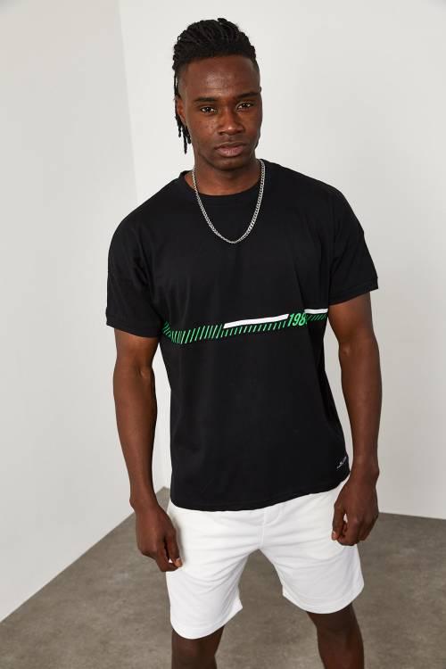 XHAN - Siyah Önü Yazı Detaylı T-Shirt 1YXE1-45089-02