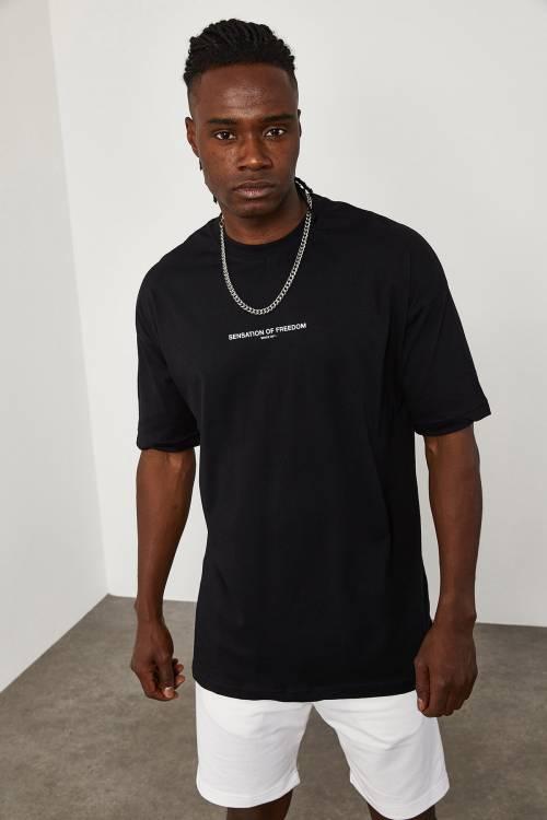 XHAN - Siyah Önü Yazılı Oversize T-Shirt 1YXE1-45094-02