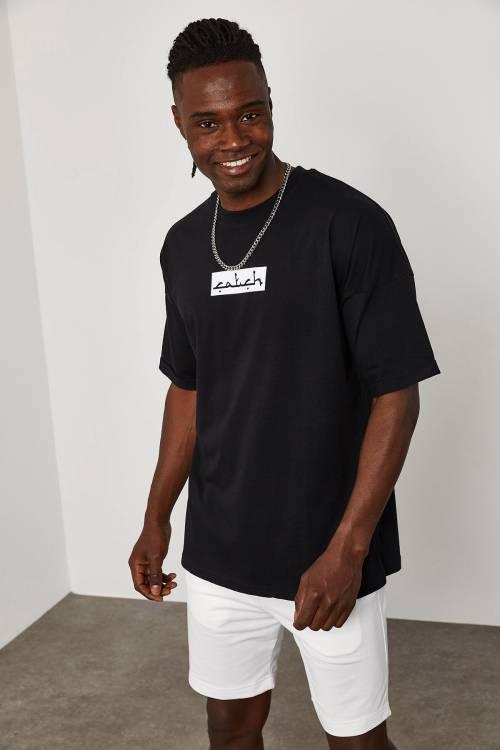 XHAN - Siyah Önü&Arkası Baskı Overize T-Shirt 1YXE1-45090-02