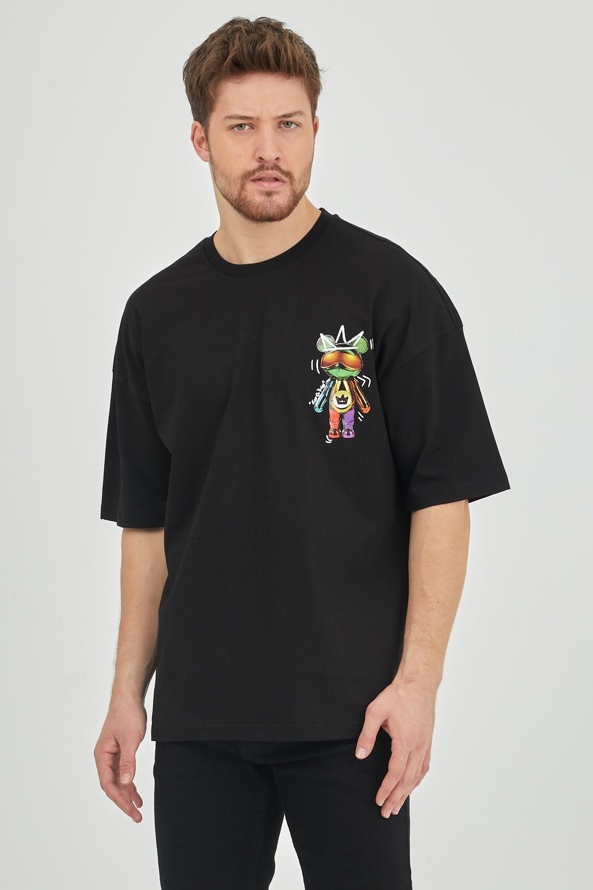 XHAN - Siyah Önür & Arkası Baskılı Oversize T-Shirt 1KXE1-44624-02
