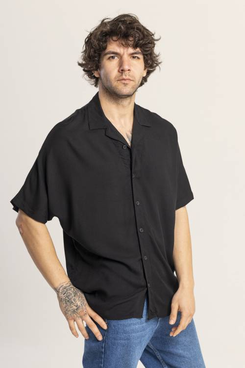 XHAN - Siyah Oversize Gömlek 1KXE2-44813-02