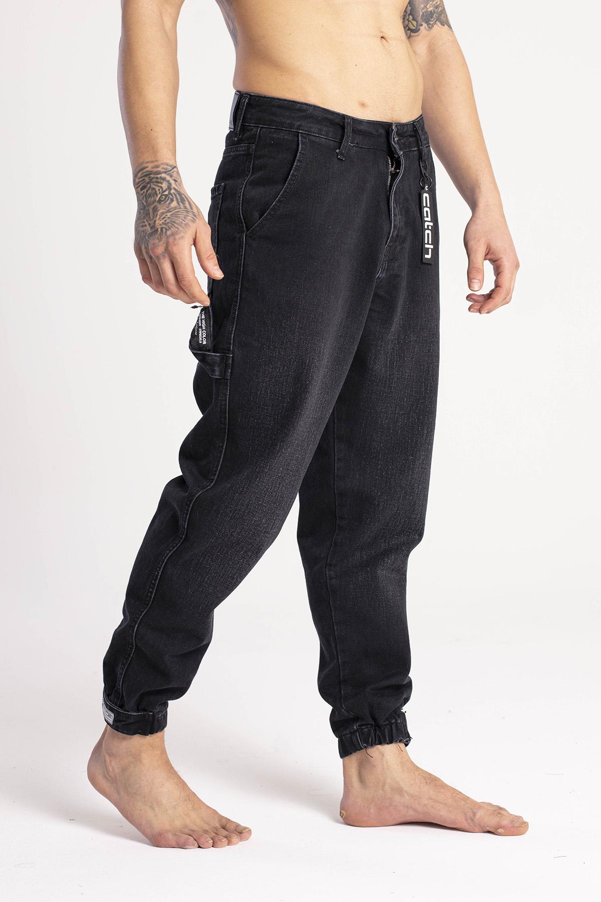 XHAN - Siyah Paçası Bantlı Jogger Kot Pantolon 1KXE5-44668-02