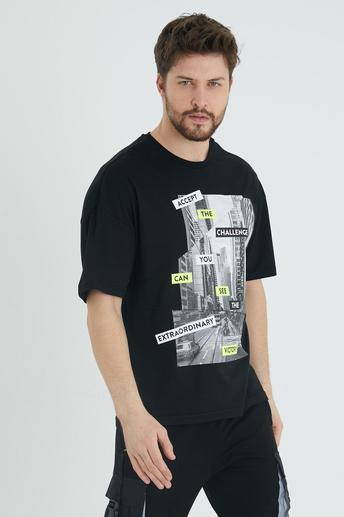 XHAN - Siyah Parçalı Baskılı Salaş T-Shirt 1KXE1-44647-02