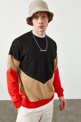 XHAN - Siyah Parçalı Baskılı Sweatshirt 2KXE8-45366-02