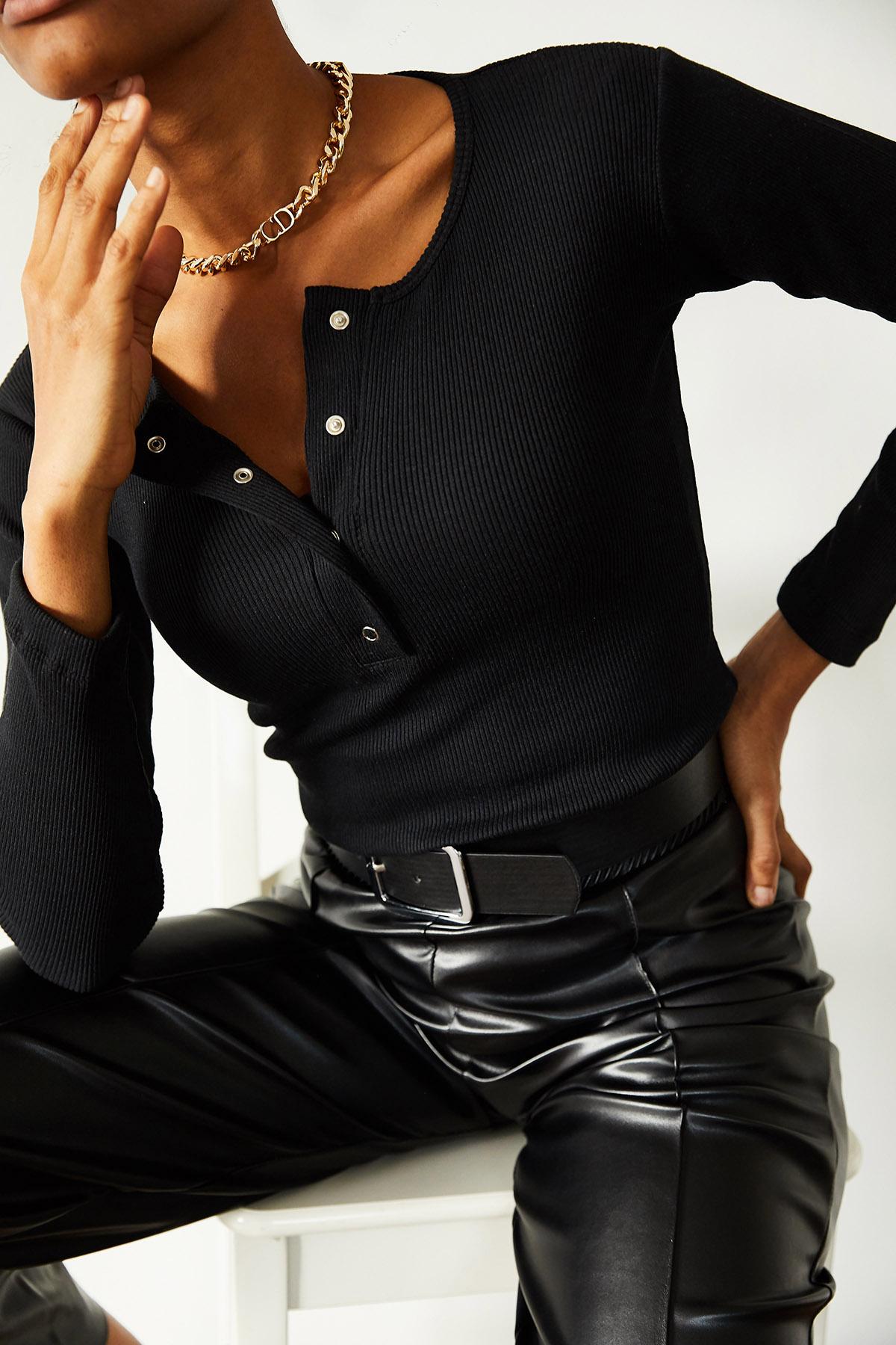 XHAN - Siyah Patlı Kaşkorse Bluz 1KXK2-44693-02