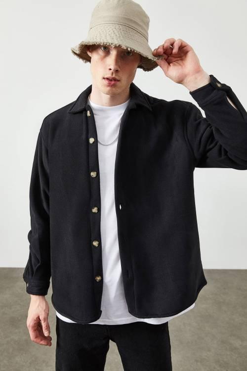 XHAN - Siyah Polar Düğmeli Gömlek 2KXE2-45335-02