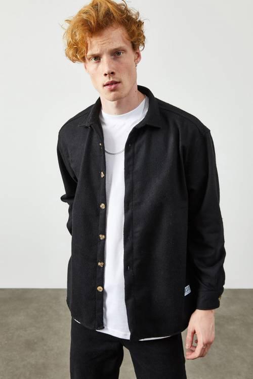 XHAN - Siyah Polar Düğmeli Gömlek 2KXE2-45336-02
