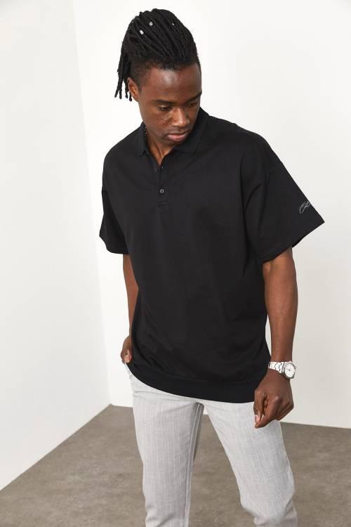 XHAN - Siyah Polo Yaka Oversize T-shirt 1YXE1-44943-02