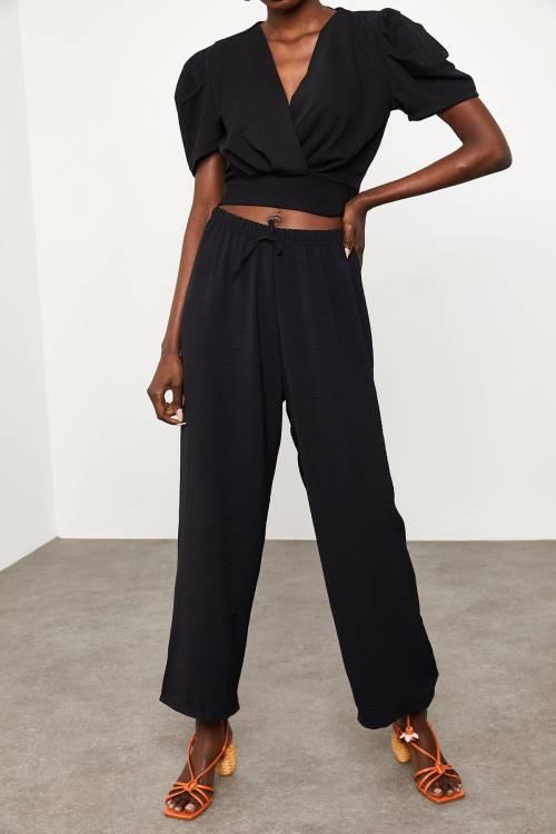 XHAN - Siyah Salaş Keten Pantolon 2KXK5-45428-02