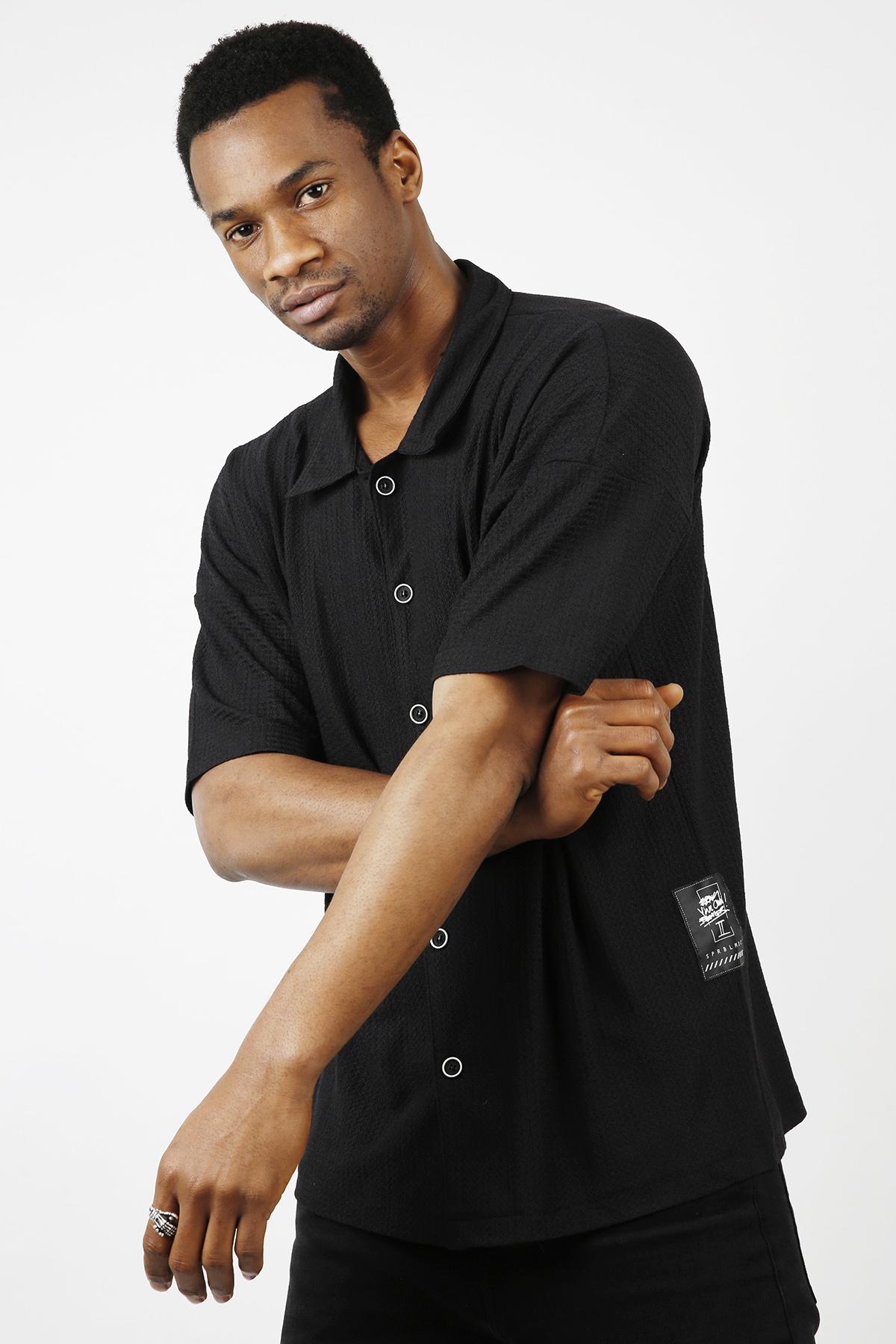 XHAN - Siyah Salaş Kısa Kollu Gömlek 1KXE2-44733-02