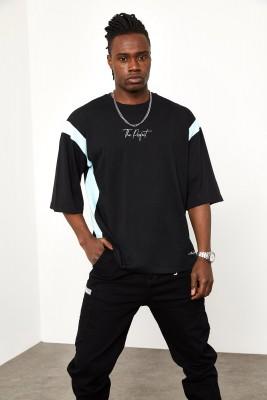 XHAN - Siyah Şerit Detaylı Oversize T-shirt 1YXE1-44941-02